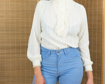 1960's Victorian Ruffle Front Blouse