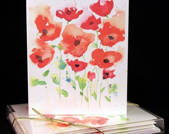 Original Watercolor  Print Orange and pink floral portulaca poppies Note Cards-
