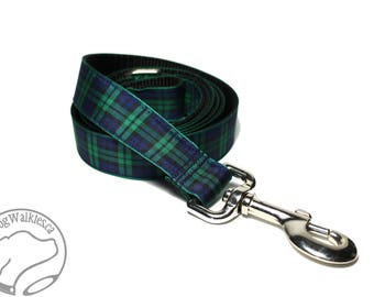 Green Edge BlackWatch Tartan Leash // Matching Tartan Dog Leash in all widths // Plaid Leashes // Tartan Lead // Black Watch with Green Edge