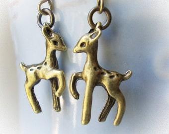 Baby Fawn Earrings in bronze little drop dangle earrings for women girls deer reindeer brass cute little animal earrings woodland fairy