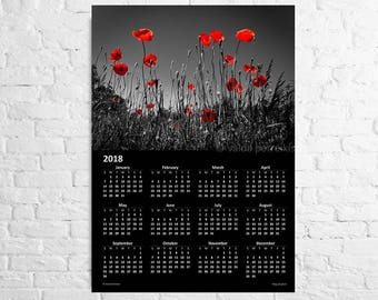 Wall calendar 2018 The poppy field A3 poster Dark flower calendar red poppies print Blood red poppy wall decor Remembrance day