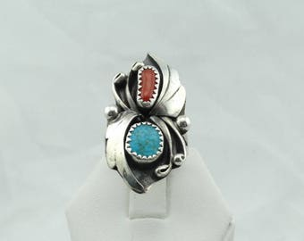 "Southwest Stamped ""W. YAZZIE"" Native American Turquoise and Coral Sterling Silver Leaf Pattern Ring  #YAZZIE-SR1"