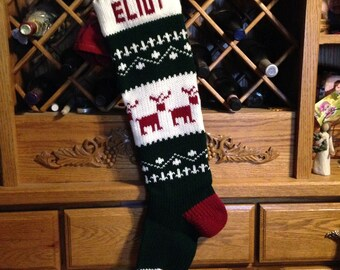 Christmas Stocking, Stockings, personalized, knitted, reindeer, deer, wedding, new baby, Moeggenborg Sugar Bush, unlined
