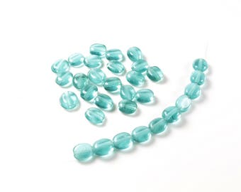 20 Indian oval flat glass beads Blue + / 6-7mm x 5-6mm LBP00565