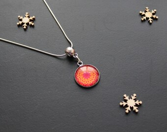 Red, orange, ethnic, glass cabochon, silver necklace