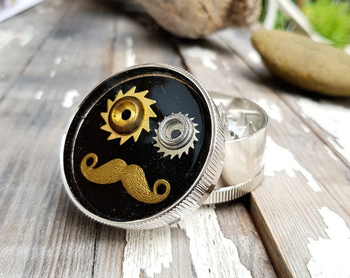Featured listing image: Metal Herb Grinder - Moustache Spice Crusher