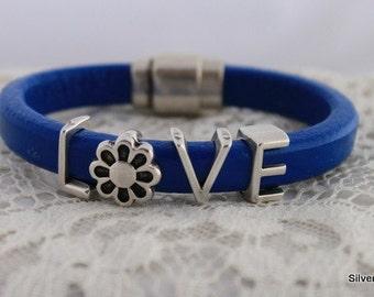 REGALIZ Royal Blue Leather Bracelet Silver Plate Magnetic Clasp Leather Cuff Bracelet | LOVE CUFF Bracelet