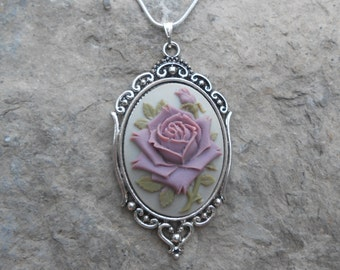 "Stunning Rose Cameo Pendant Necklace (lavender on gray)---.925 plated 22"" Chain--- Great Quality"