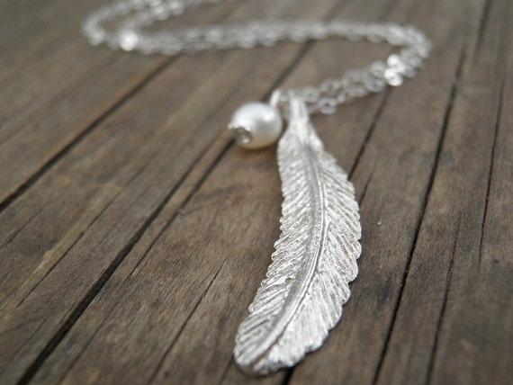Long silver necklace silver feather necklace feather like this item mozeypictures Images