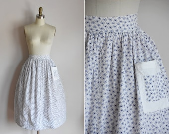 1950s Atomic Wish skirt/ vintage 50s novelty skirt/ cotton star full skirt