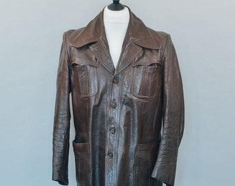 Vintage 70's Meister Klasse Brown Leather Blazer Jacket Indie Medium Chest 38 40