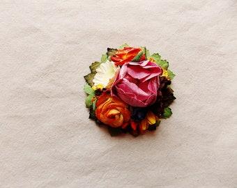 Bon Bon pink cherry red orange chocolate yellow green daisy mix Handmade Roses Vintage style Millinery flower corsage