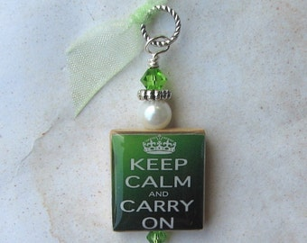Green Keep Calm and Carry On Charm Pendant