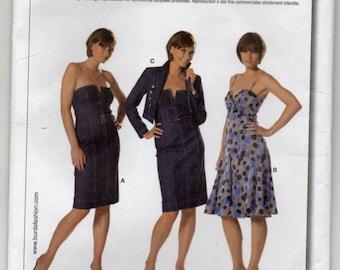Strapless Dress Shoulder Straps And Jacket Size 8 10 12 14 16 18 20 Sundress Sewing Pattern Burda 7785 Plus Size