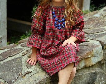 Plaid Red Flannel three quarter length long sleeve peasant dress, fall, winter,coming home outfit, baby, toddler, girls