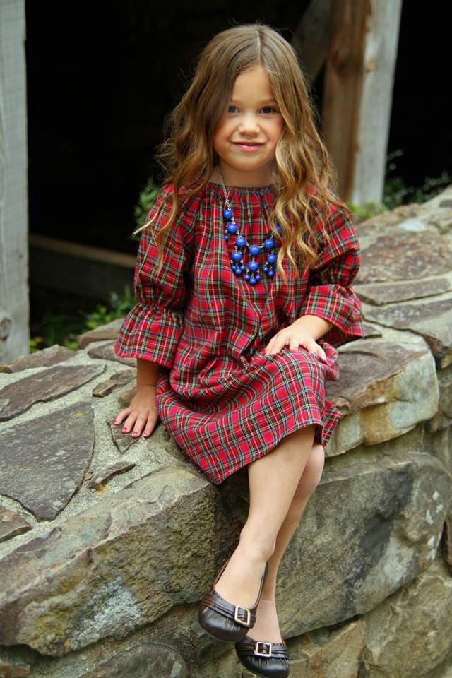 girls flannel dress red plaid three quarter christmas dress