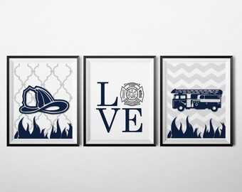 Firefighter Themed Nursery, Baby Boy Nursery Decor Art, Firefighting Decor,  Nursery Prints,