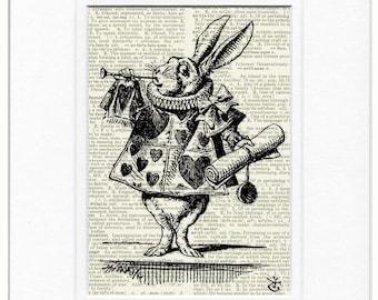 White Rabbit, Alice in Wonderland print