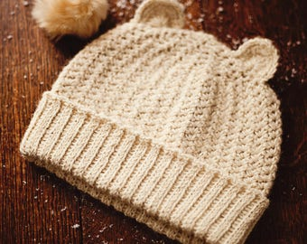 Crochet hat PATTERN - Knit-look Beanie (sizes baby to adult)