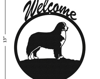 Dog Bernese Mountain Dog Black Metal Welcome Sign