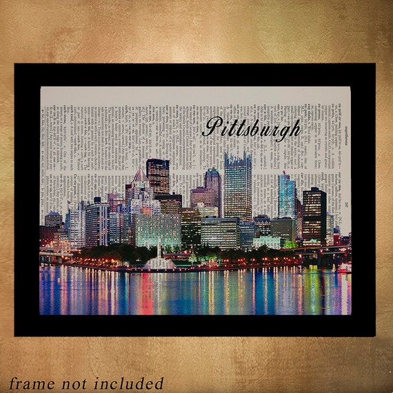 Home Decor Pittsburgh: Pittsburgh Skyline Dictionary Art Print Pittsburgh Decor Wall