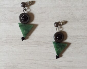 geometric triangle stone earrings / dangle earrings / jasper green, hematite circles and onyx beads