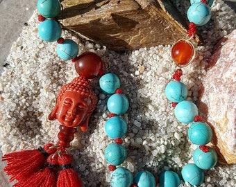 Turquoise & Fire Agate Mala