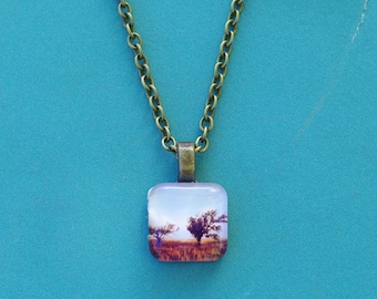 Lonely Trees Necklace, Tree Tile Pendant, Louisiana Gulf Coast Tree Photo Jewelry, Nature Necklace, Office wear Necklace, Small Necklace