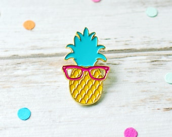 Pineapple Enamel Pin with Glasses | Lapel Pin Game | Fruit Enamel Pin Badge | Kawaii Pins | Funny Enamel Pin