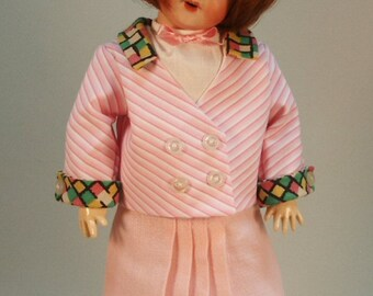 Bleuette pattern for doll clothing - Une Jaquette Fantaisie sur Une Jupe Unie, LSDS 1936 - patterns Pleated skirt, Blouse, Jacket and hat