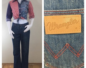 30% Off Sale 70s Wrangler High Waist Straight Cut Jeans with Red Stitching, Women's Size 28