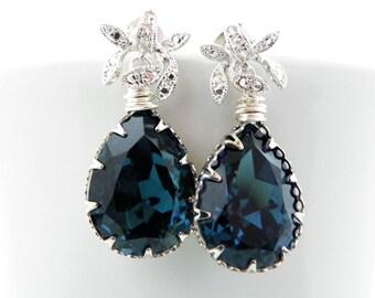 Montana Blue Bridal Earrings, Blue Drop Earrings, Wedding Teardrop Earring, Art Deco Bridal Jewelry, Swarovski Bridal Earing, Flower Earring