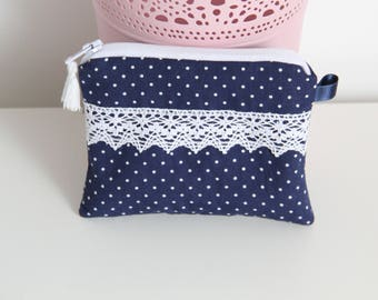 Blue wallet Navy with white dots, lace and tassel - mother gift idea