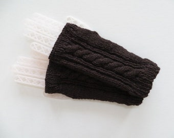Alpaca Fingerless Gloves, Handmade Gloves, Wrist Warmers, Texting Gloves, Dark Brown
