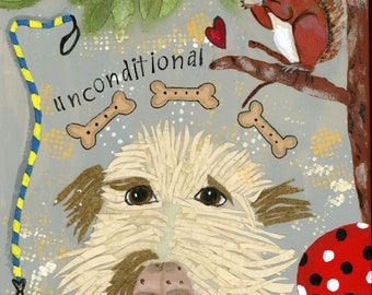 Dog Print, Mixed Media Animal, Labradoodle Print, Squirrel in a tree, Dog with ball, Dog toys, Unconditional Dog Love, Dog Biscuits