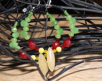 Rasta Means  Love       Hoop Earrings          stones quartz New Jade MOP