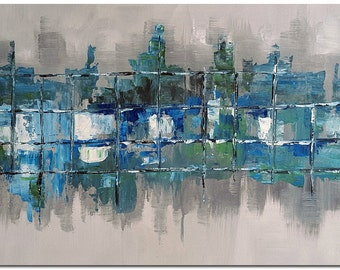 Signed Hand Painted Abstract Modern Abstract Oil Painting On Canvas