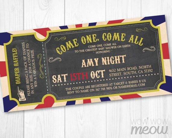 Circus Baby Shower Invite Carnival Invitations Ticket Gender