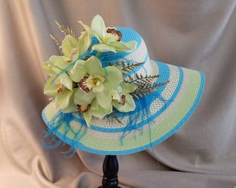 KENTUCKY DERBY HAT Green Gold and Turquoise Large Brim Women's Hat