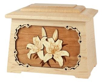 Maple Lilies Astoria Wood Cremation Urn