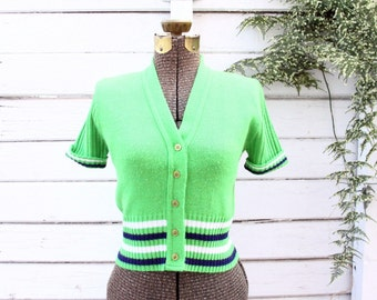 70s striped shirt - short sleeve sweater - button up blouse - v neck - green white navy - small medium