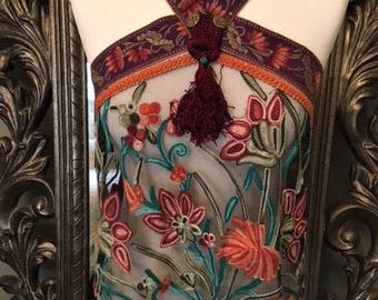Handmade Vintage Boho Top. UK Size 8-10. Vintage Embroidered mesh with Antique Braiding and Beaded trim. Autumnal colours-