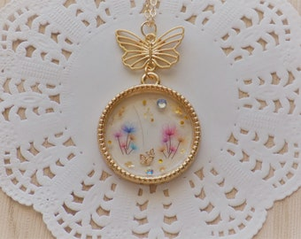 Butterfly Inspired Flower Necklace