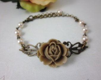 Latte Rose Bracelet.  Gift for her. Bride, Bridesmaid Gifts, Maid of Honor.