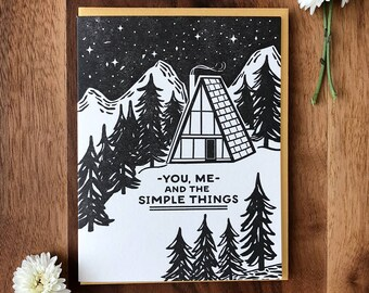 The Simple Things A-Frame Letterpress Card