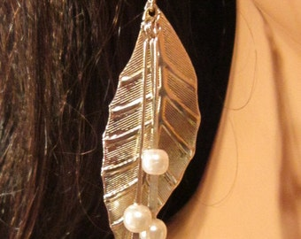 Vintage Silver Dangling Leaf and Pearl Hook Earrings