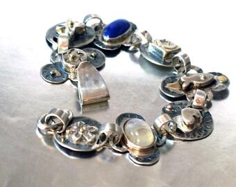 Sterling Silver Bracelet,Two Tones Bracelet,Multi Tones,Charm Bracelet Sterling Silver,Handmade Silver Gold Stones Bracelet,Textured Silver