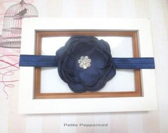 Navy Blue Baby headband,infant headband, toddler headband,Baby Headband Flower, Navy Blue Baby Hair Bow, Newborn headband, girl hair bow