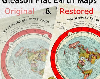 2 x Flat Earth Gleason Maps, Original and Restored Version A1 LARGE Posters