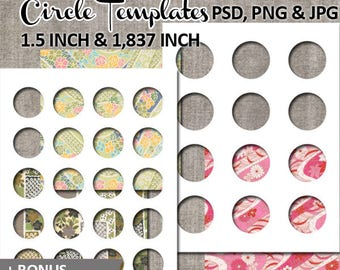 Commercial use template photoshop / 1.5 inch, 1.837 inch round circles / Digital DIY kit collage sheet